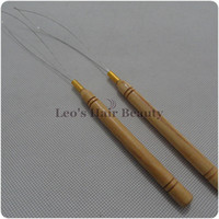 cold fusion hair extensions - Hair Extensions threader a wooden handle hook loop needle for micro nano ring beads cold fusion hair
