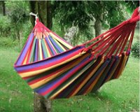 Cheap Sample Order Outdoor Camping Swing Hammock Canvas Red Stripes Double Leisure Hammock Outdoor Folding Camping Tent Y30284