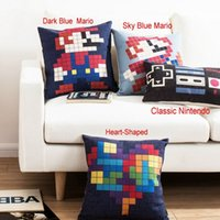 Wholesale Pixel Candy Color Pillow Case Sofa Home Decor Cushion Cover Square Oblong Linen