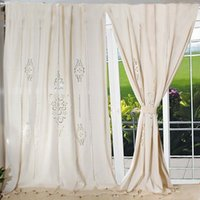 Wholesale customize Tab Top Curtain Linen Lace French Country Cotton Linen Crochet Lace Curtain Panel Drape for Living Room Hotel Cafe MBCL