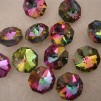 Wholesale 100pcs mm rainbow crystal glass octagon beads in holes crystal chandelier beads beads kitty