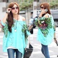 Cheap 2014 Hot Sale Women Spring Summer Bohemian Batwing Sleeve Flowers Printed Chiffon Shirt Tops Oversized Blouse Tees B18 SV000978
