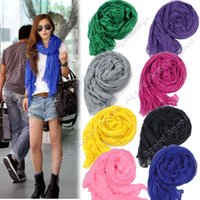 crinkle scarf - Fashion Women s Long Crinkle Wrap Scarf Soft Shawl Stole Pure Color Colors Hot sales