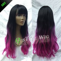 purple black hair color - Beauty color wavy hair wig Two tone Ombre style black root purple red color hair sparse cut air fringe wigs for fashion women