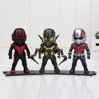 automotive stands - 3pcs The Avengers Ant man Cartoon cute Light cm PVC figure toys With stand Automotive Decoration