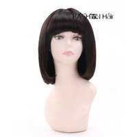 Wholesale Short Real Hair Wigs Women - Cheap Straight BOB Brazilian Virgin Hair Full Lace Wigs With Bangs 7A 100% Real Human Hair Short Lace Front Wigs For Black Women