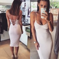 Wholesale sexy backless deep U neck night club dress summer style women bodycon party bandage sun dresses fashion vestidos