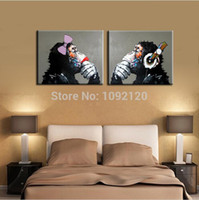 art gorillas - Boy And Girl Lovely Gorilla Handpainted Modern Home Decoration Oil Painting Wall Art Paintings Animal Picture Paints On Canvas