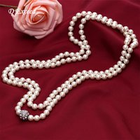 Wholesale 2015 Faux Glass Pearl Beaded Necklaces Pendants with Rhinestone Long Sweater Chain for Women Pearl Neckalces XL0004