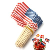 american flag picks - 100pcs American USA Flag Party Cupcake Topper Food Picks Cake Decor Wedding Festival Birthday Dessert Handmade Fruit Sticks
