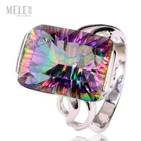 Wholesale Colorful Crystal genuine natural big square hollow silver ring original retro fashion