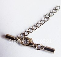Wholesale Free ship gun metal black necklace extend chain back chain jewelry finding end cap with clasp fit mm cord