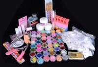 Wholesale Professional Acrylic Liquid Powder Glitter Clipper Primer File Nail Art Tips Tool Brush Tool Set Kit new