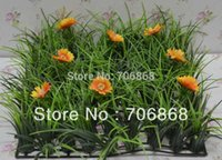 Wholesale 10 Artificial plastic long grass mat jungle grass mat boxwood mat with flower wedding garden decoration table runner