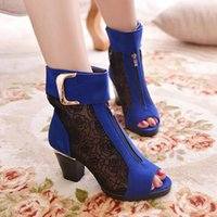 Cheap Thick High Heel Lace Grenadine Open The Toe Cut Out Woman Summer Ankle Sandals Boots Lady Peep Toe Cutout Short Boots SXQ0522