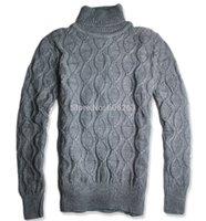 Maglione maglia camicia degli uomini collo alto deduttivo svago di affari ramo All'ingrosso-Olive