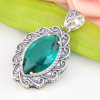 amazing pendants - Best Wholesle Pieces Amazing Fire Vintage Green Quartz Crystal Gems Sterling Silver USA Israel Wedding Engagement Pendants Weddings