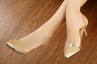 Wholesale women s bottom high thin heels women pumps party gold Sequined pointed toe shoe