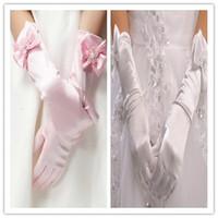 Wholesale Pearl Bow Beads Flower Ribbon Butterfly Silk Children Girls Wedding Dresses Gloves Kids Formal Full Dress Figer Gloves Mittens D4862