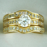 wedding rings - 18k yellow Gold Fille engagement wedding ring sets w crystal R179 M S