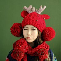 Wholesale Christmas Fashion Women Knitting Hats Deer Horn Beads Ear Bobble Cute Warm Winter Knit Crochet Beret Braided Baggy Beanie Hat caps H3147