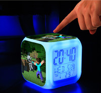 Wholesale Minecraft Alarm Clock LED Clock LED Colors Change Digital Alarm Clock Night Colorful Change Toys Digital Alarm Clock Minecraft flash light