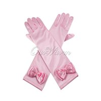 Wholesale 1 piece Fashion quot Kids Stretch Satin Long Finger Gloves for Wedding Flower Girl Child Party Pink White Lavender Wholesales GV