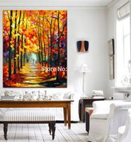 art stroll - Palette Knife Oil Painting Stroll in Fall Forest Red Alley Art Picture Printed on Canvas for Home Office Hotel Wall Decor