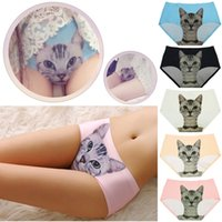 sexy pussy - New Arrivals Women Lady Sexy Lingerie Seamless Briefs Pussy Cat Panties Anti Emptied Cat Printing Underwear NX255