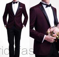 Wholesale 2015 Hot Sale Tuxedos Dark Red Groom Tuxedo Wedding Party Groomsman Suit Boys Suit Jacket Pants Tie Vest Bridegroom Suit