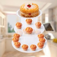 Wholesale Fashion Tier Clear Circle Acrylic Round Cupcake Stand for Wedding Birthday Party Dessert Cake Display Decors Cupcake Holder