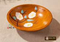 Wholesale Z Chinese Classical Zen Wood Fruit Plate Dish Dessert Plate Hand painted Peach Blossom Flower wood carving sculpture handmade decoration