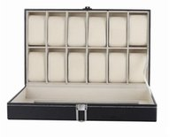 Wholesale 12 Grid Leather Watch Display Case Jewelry Collection Storage Organizer Box Holder EMS DHL