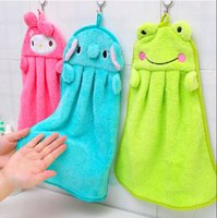 Wholesale 5pcs Hot Fashion Kids Nursery Hand Towel Soft Plush Fabric Cartoon Animal Panda Rabbit Duck Hanging Wipe Bathing Towel Cheap FG08097
