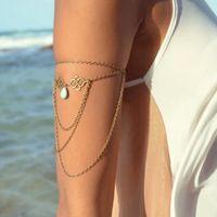 Wholesale Bronze Arm Chain Women Upper Arm Bracelet Sexy Tassel Body Chains Arm Cuff Vintage Braclet Body Jewelry