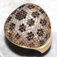 Cheap Luxury spherical full drilling Black Stone plum blossom dotted finger ring AAA zircon 506 grains (298 white +208 black) ALW1885