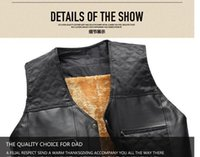 Wholesale Fall Sleeveless Leather Jacket Cheap Vests For Men Gilet Jacket Fleece Lined Warm Motorcycle Vest Winter Black Brown Father s Gift