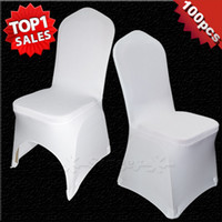 white wedding chairs - 100 Universal White Polyester Spandex Wedding Chair Covers for Weddings Banquet Folding Hotel Decoration Decor Hot Sale