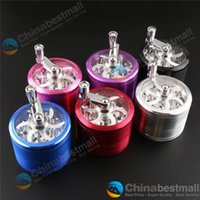 For Apple iPhone spice smoke - 4 Part Space Alloy Hand Crank Tobacco Spice Herb Grinder Alloy Crusher Smoking Accessories Random Color