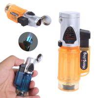 Wholesale Portable Windproof Trip Torch Jet Flame Refillable Butane gas Cigarette Cigar Lighter No Gas Gadget Case A103