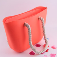 Men silicone handbags - silicone rubber totes obag similar candy jelly bag w matching rope handles bag wih string bag rope up beach Swimming handbag