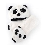 Wholesale 1set Retail Baby hat scarf set Autumn winter children s panda baby hats baby cap Warm velvet ear muff cap