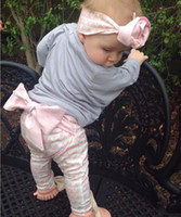 Wholesale Hot in INS Baby girls cute bowknot PP pants infant leopard print long trousers black pink heart design spring autumn Harem cross Pant T