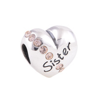 Wholesale Family charms sister silver crystal heart shape sterling silver fits European brand bracelets and necklace X121A