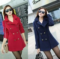 Cheap new spring autumn winter 2014 double breasted female coats overcoat long wool blends trench coat for women Red Dark BlueWT4078