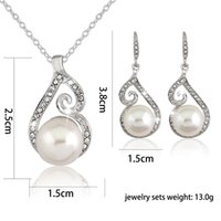 indian wedding dresses - Rhinestone pearl pendant Chain CZ Crystal Earrings And Necklace Fashion wedding dress Jewelry Sets For Women