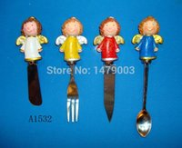 Wholesale cheese butter knives set with angel handle