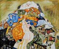 One Panel baby klimt - Modern Art Baby Cradle Gustav Klimt oil painting on Canvas High quality Hand painted
