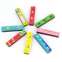 Wholesale 2016 NEW HOT Wooden Harmonica Kids Musical Instrument Educational Craft Toy Cheap Price