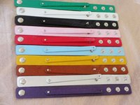 Wholesale 20pcs mm PU leather Snaps wide Wristband fit mm Slide Charms slide letters